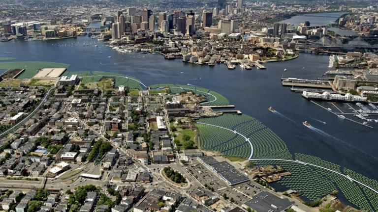 Aerial view photo montage of the Emerald Tutu in Boston Harbor, here shown flanking and protecting the waterfront areas of East Boston.