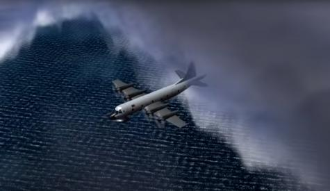 Plane flying through storm clouds