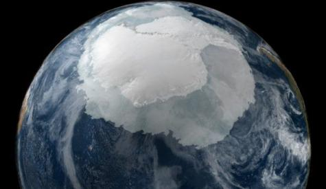 MIT scientists suggest sea ice extent in the Southern Ocean may increase with glacial melting in Antarctica. This image shows a view of the Earth on Sept. 21, 2005 with the full Antarctic region visible.