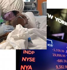 A medical worker in protective gear tends to a patient in Italy (left image) and a screen with graph of the Dow industrial average after closing bell on March 18.