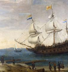 Painting of Dutch Ships; by Hendrick Cornelisz Vroom,1600-1630. Rijksmuseum, public domain
