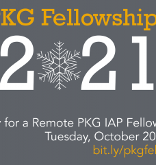 Advertising flier for the PKG Fellowships program, deadline October 20th, 2020, at noon.