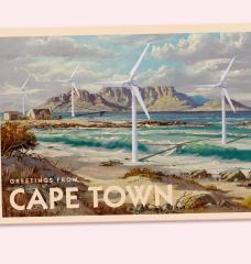Greetings from Cape Town Postcard with offshore wind turbines