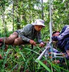 Researchers conduct carbon monitoring in a peat swamp forest in Central Kalimantan, Indonesia in 2017.