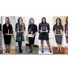The 2020 U.S. C3E Award recipients (left to right): Kathy Hannun of Dandelion Energy; Cristina Garcia of the Building Electrification Initiative; Britta von Oesen of CohnReznick Capital; Lindsay Dubbs of the Coastal Studies Institute and UNC Chapel Hill; Bobi Garrett of the National Renewable Energy Laboratory; Elizabeth Kaiga of DNV GL; María Hilda Rivera of Power Africa; Natalie Meyero of the City of Bozeman, Montana; and Simona Onori of Stanford University.