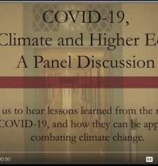 Title slide for COVID-19 & Climate Change: Former Secretary of State John Kerry and MIT President Rafael Reif