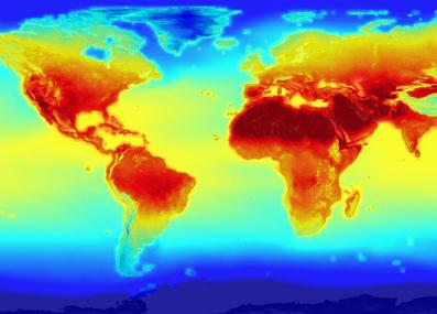 a visualization from a climate model, showing projected temperatures in 2100